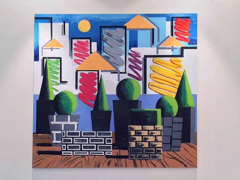 <i>Soft Power</i> by Rae Hicks. 180 x 190cm, oil and spray paint on canvas, 2017.