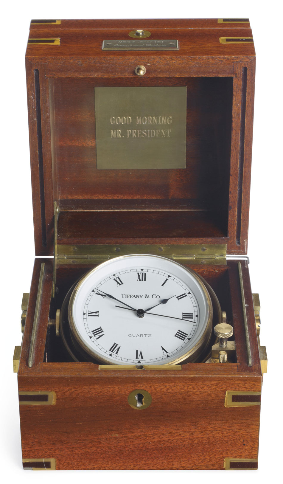 The Sinatras presented the chronometer to the Reagans as an inaugural gift on January 20, 1981.