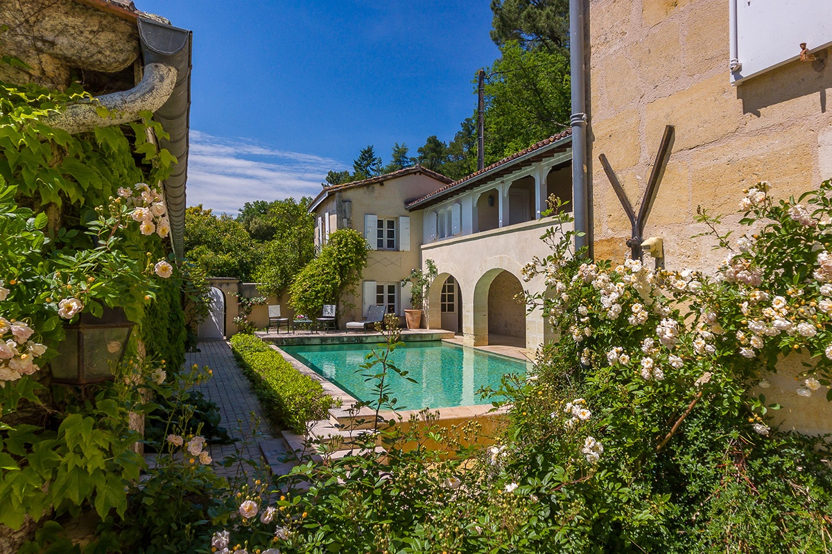 The extensive accommodations include a six-bedroom château, a private chapel, three guest houses. There's also a 200-person event space and a courtyard with a resort-style pool.