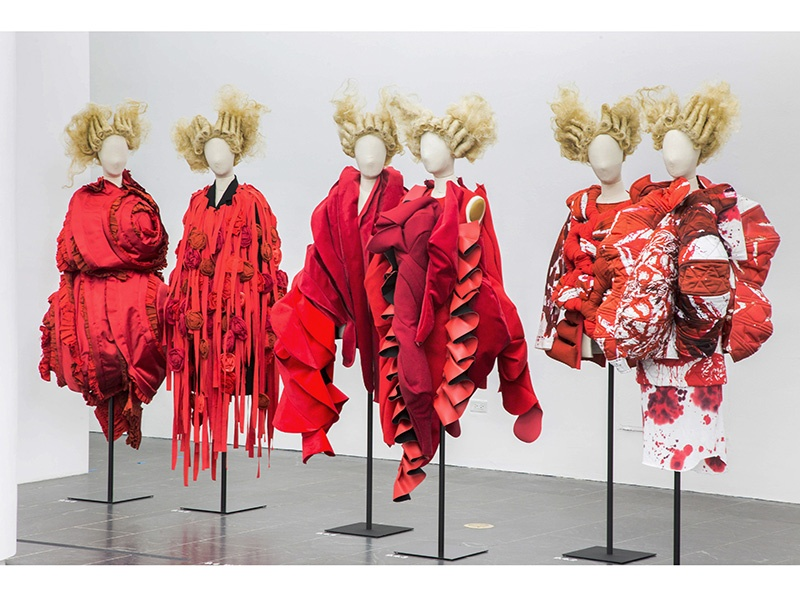 """The """"Clothes/Not Clothes: War/Peace"""" enclosure at the Costume Institute's <i>Rei Kawakubo/Comme des Garçons: Art of the In-Between</i> exhibition at the Met Fifth Avenue in New York. Photograph: ©The Metropolitan Museum of Art. Banner image: A selection of ballet flats in a rainbow of colors are among the key pieces in the Audrey Hepburn exhibition and auction at Christie's. Photograph: ©Christie's Images Limited 2017"""