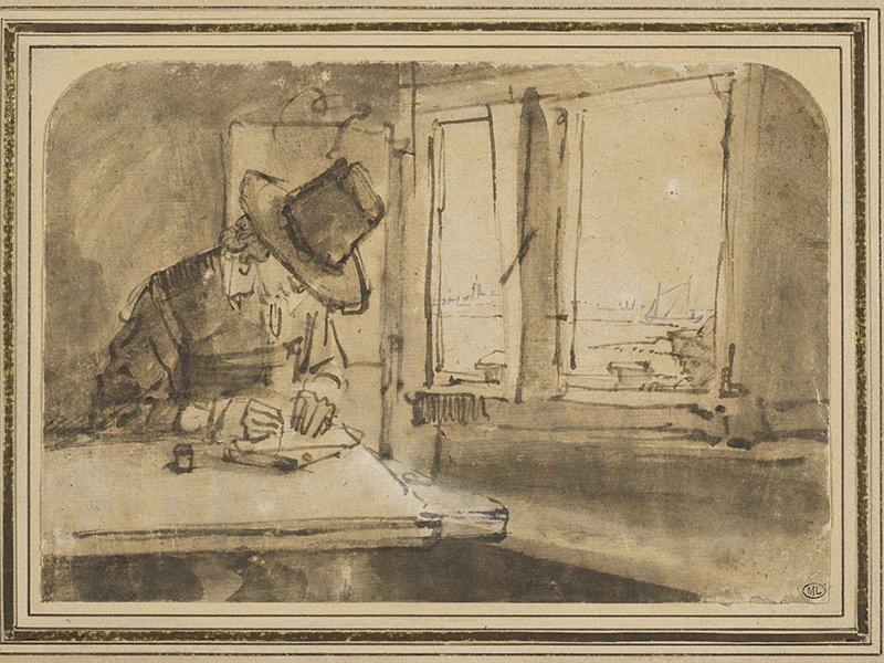 Rembrandt, <i>Young man writing or drawing near a window overlooking the IJ</i>. Image: RMN-Grand Palais (Musée du Louvre)/Tony Querrec