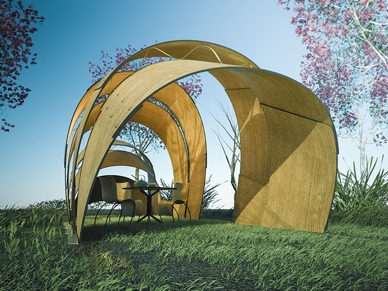 <strong>Armadillo Tea Pavilion</strong><br> <i>Ron Arad</i><br> Comprising five molded shells, the canopy is designed to provide an intimate enclosure, shelter, or place of reflection within a garden or large internal space.