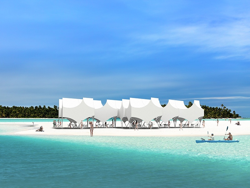 <strong>Bettina Pavilion</strong><br> <i>Michael Maltzan</i><br> Recalling the classic white tent, each structure can be linked to others to make one large pavilion, creating striking peaks on the horizon.