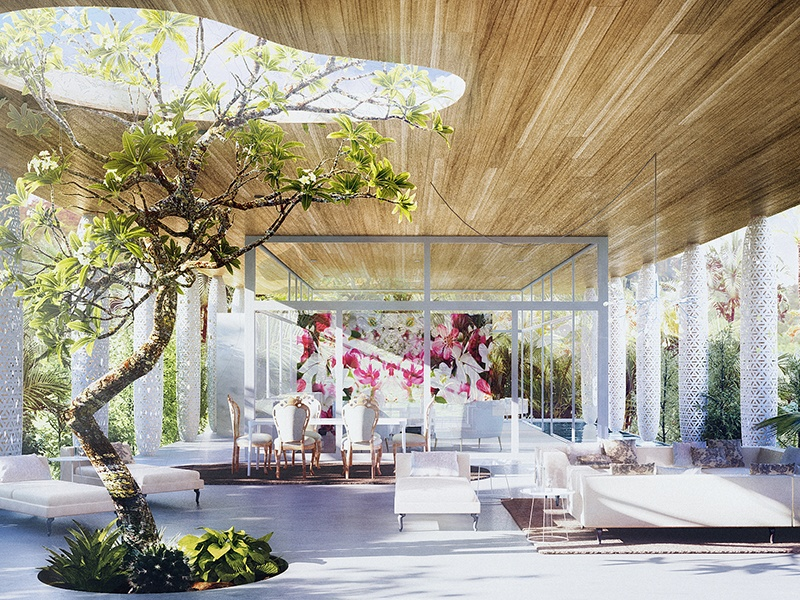 <strong>Eden</strong><br> <i>Marcel Wanders</i><br> The Eden house is available in three different styles, Natural, Eclectic, or Cosmopolitan, allowing the owner to customise the design, and add features such as a lap pool, outdoor bathtub – even a frangipani tree.