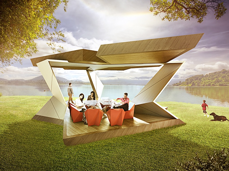 <strong>ReCreation Pavilion</strong><br> <i>Daniel Libeskind for Studio Libeskind</i><br> With its distinctive lines and wood and stainless steel design, the ReCreation pavilion offers a twist on the classic summer house or gazebo.