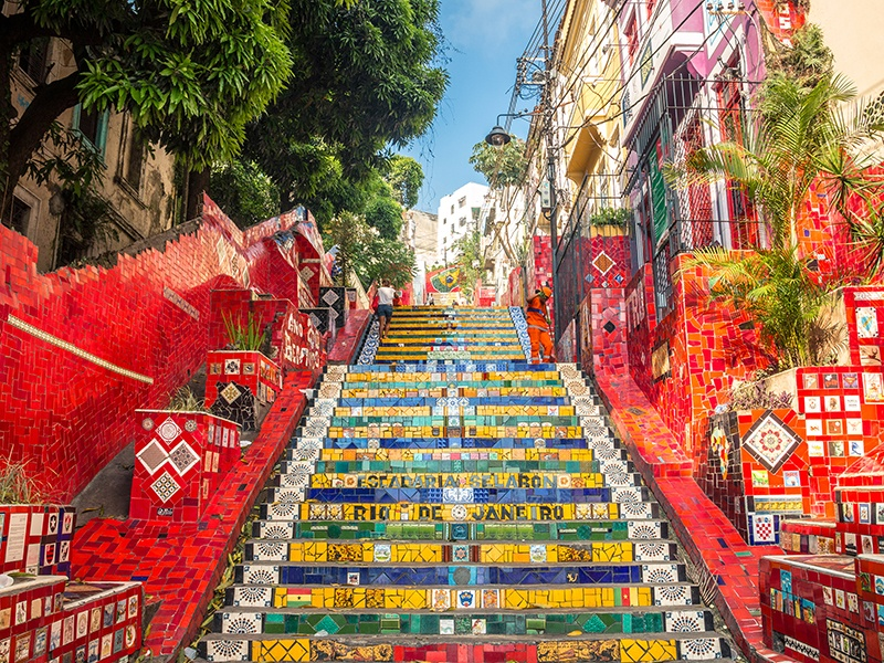 Escaderia Selarón, or the Selarón Steps, were covered in 2,000 brightly colored tiles from more than 60 different countries by Chilean artist Jorge Selarón. Photograph: Getty Images