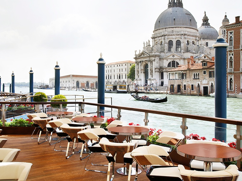 There are few views as remarkable as the one from the Riva Lounge terrace at the Gritti Palace, which overlooks the Grand Canal and Santa Maria della Salute church.