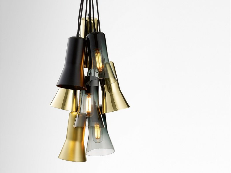 Made in Melbourne, the fluted Silhouette pendant by Australian designer Ross Gardam is available in colored glass, copper, brass, or aluminum, and can be hung alone or grouped in an array of configurations.