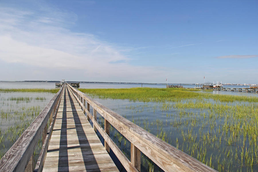 This spacious Lowcountry estate has spectacular views of historic Charleston Harbor, and its own deepwater dock, as well as a floating dock and a boat life.