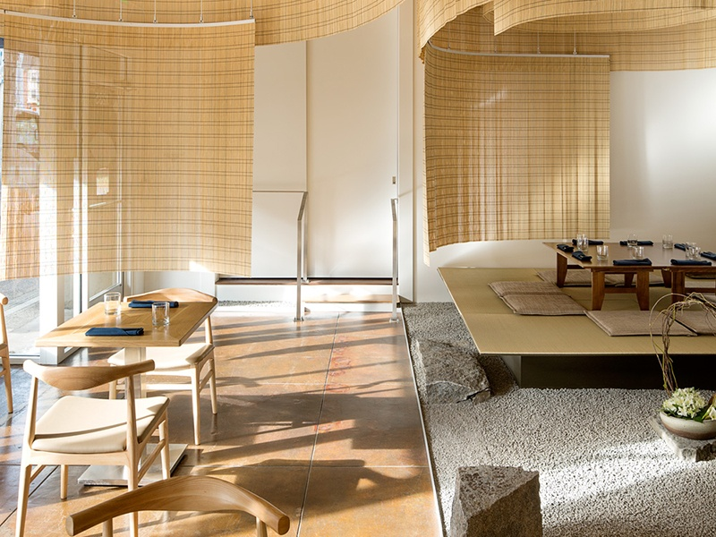 For the Shizuku by Chef Naoko restaurant in Portland, Oregon, Kengo Kuma and Associates divided the space with sudare, a diaphanous screen made with thin bamboo sticks. Photograph: Jeremy Bittermann