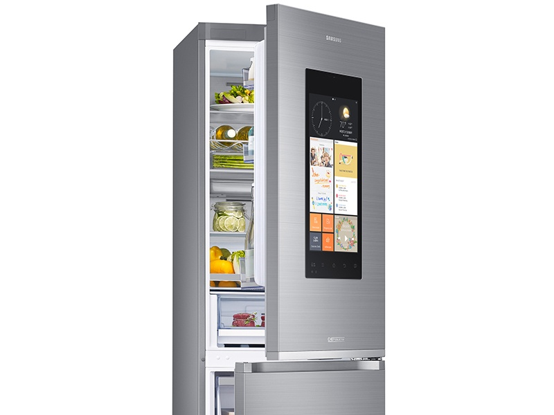 Samsung's interactive and artificially intelligent Family Hub Smart Fridge Freezer is Wi-Fi connected, and has internal cameras, so you can check what's inside, even when you're not at home.