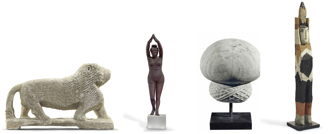 From left to right: Lion, Diving Woman, An Ottoman Carved Marble Turban, Spirit Man