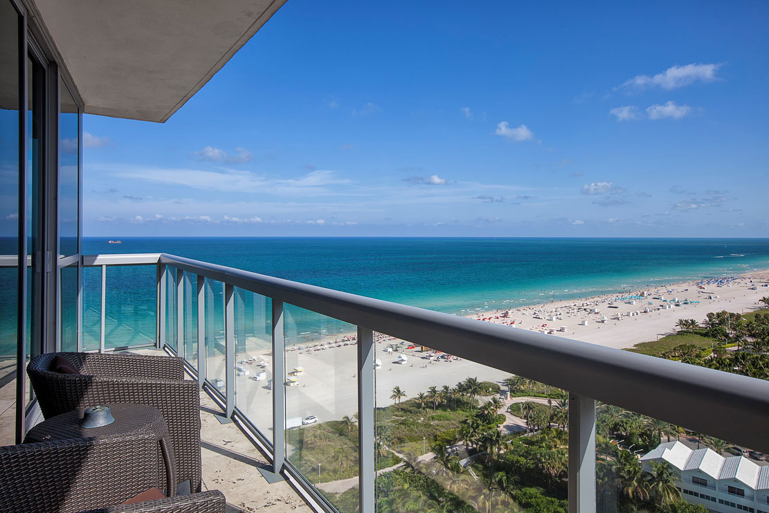 <b>3 Bedrooms, 2,558  Sq. Ft.</b><br/>Perched above South Beach and boasting panoramic views from every room, this home features three-bedrooms and three-and one-half bathrooms, living room, dining room, laundry room, full-sized wine chiller, and a wrap-around balcony offering breathtaking ocean and city views.