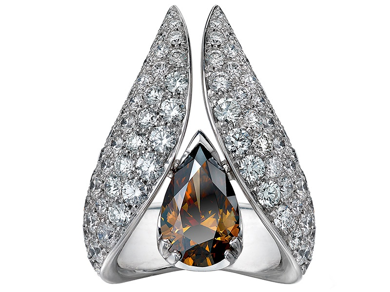 Cognac Diamond Suite ring, a commissioned piece by the House of Shaun Leane, London.