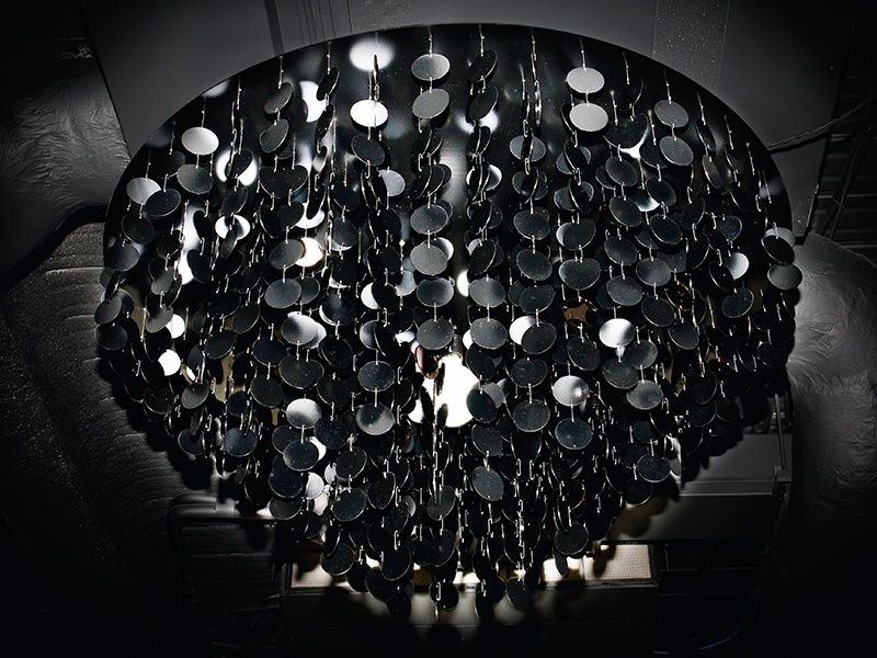 Black Oyster, created for a hair academy, comprises laser-cut steel disks, powder-coated in a variety of different black finishes.