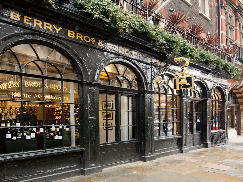 Fine wine merchant Berry Bros. & Rudd traces its roots back to 1698 when the Widow Bourne established a shop at No. 3 St James's Street. Today, the business remains at the same address and holds two Royal Warrants.