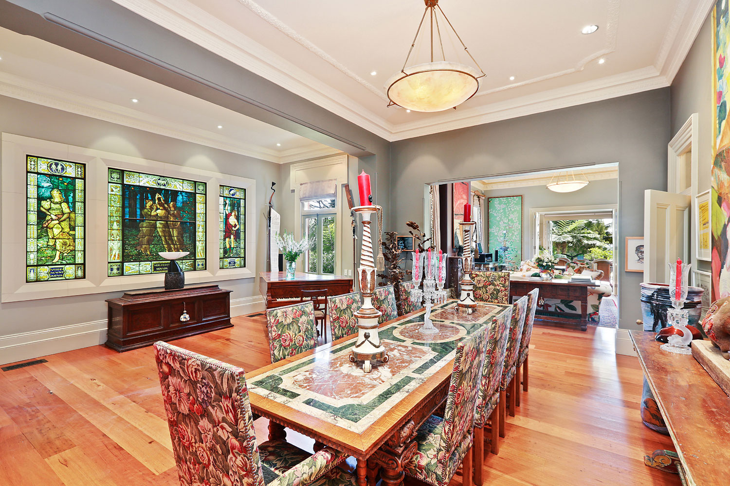 Berthong, the former Sydney estate of Russell Crowe, is grand in scale and design; the formal dining room is adorned with a magnificent stained glass window depicting classical iconography.
