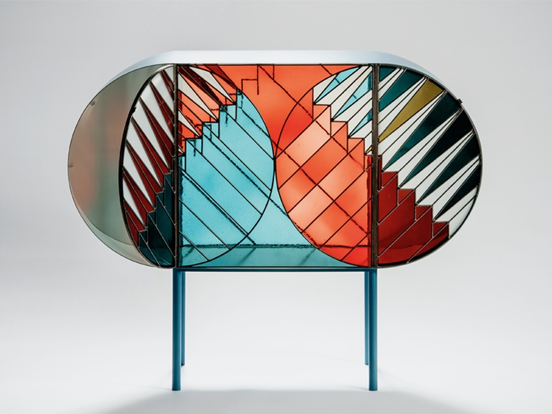 A stained-glass sideboard from the Credenza collection by Patricia Urquiola and Federico Pepe. The capsule collection, which was launched at the Milan Design week in April 2016, is hand-produced by Italian artisans using traditional stained-glass techniques. Photograph: Fabrizio Annibali. Banner image: Work in progress at Los Angeles-based architectural glass firm The Judson Studios. Banner photograph: Jessica Sample