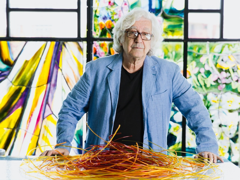 Italian-born glass artist Narcissus Quagliata (photographed at architectural glass firm The Judson Studios in Los Angeles) moved to the United States at the age of 19 and studied at the San Francisco Art Institute. He has been working in glass for more than 40 years, drawing worldwide attention for his spectacular artworks. Photograph: Jessica Sample