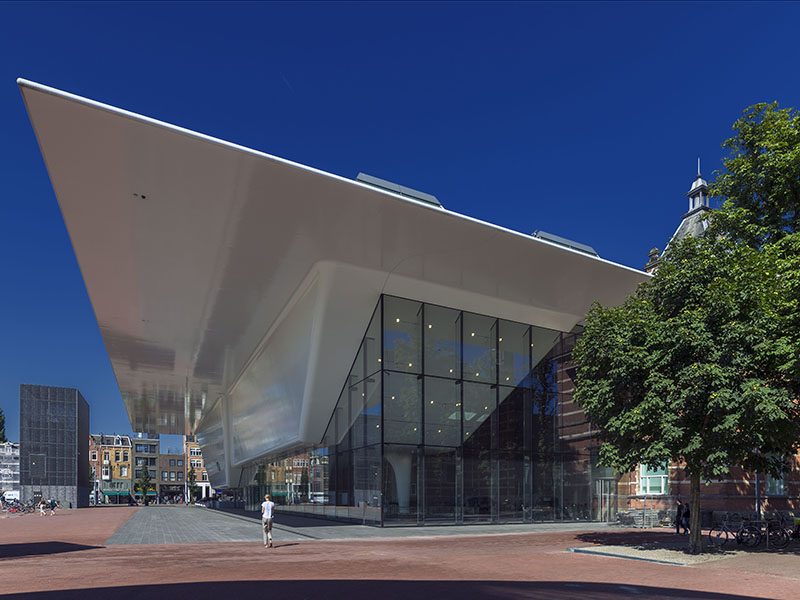 The Stedelijk Museum, seen here from the Van Gogh Museum, has a stunning collection of 20th-century and contemporary pieces from artists including Jackson Pollock, Andy Warhol, and Gilbert & George. Photograph: John Lewis Marshall