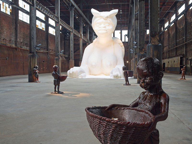 <i>A Subtlety</i>, by Kara Walker, marked the demolition of the Domino Sugar Refinery by paying homage to slaves who worked in the sugar-cane fields. Photograph: Jason Wyche