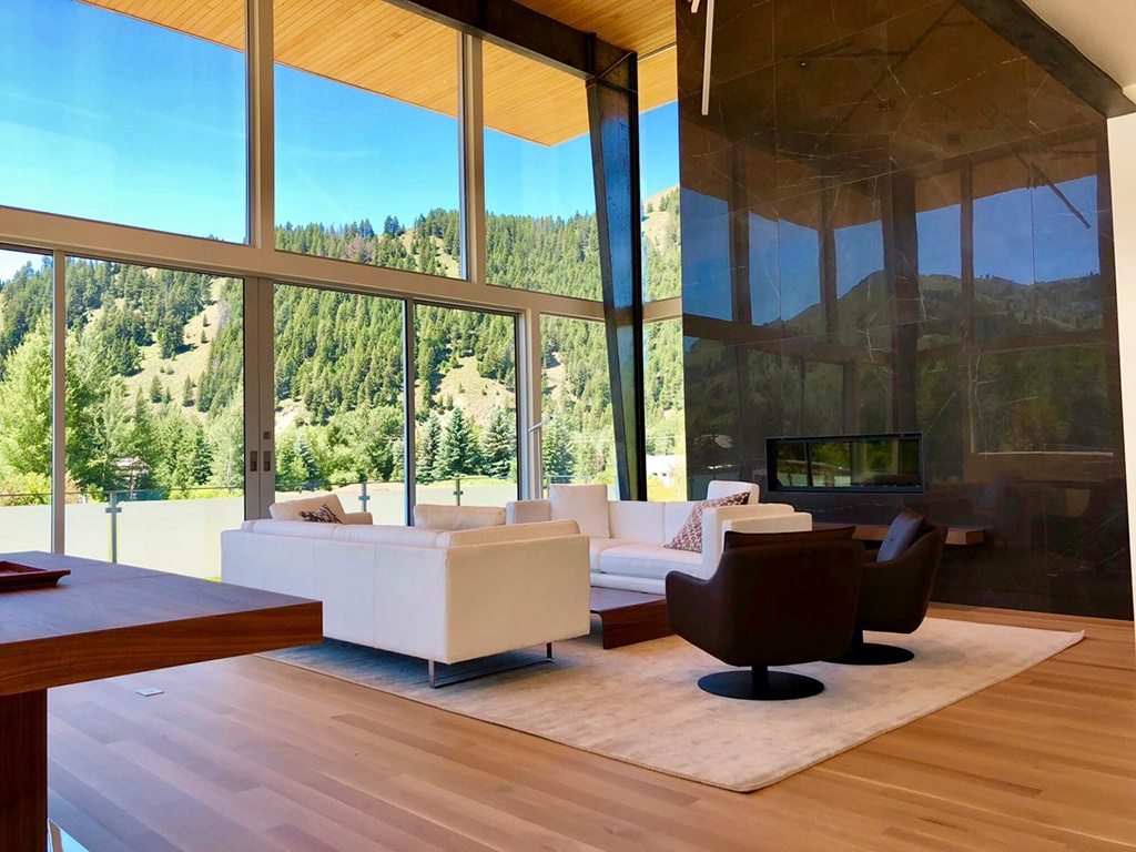 Contemporary design and the mountain lifestyle converge at this unique home in the luxury development of Lane Meadows in Sun Valley, Idaho.