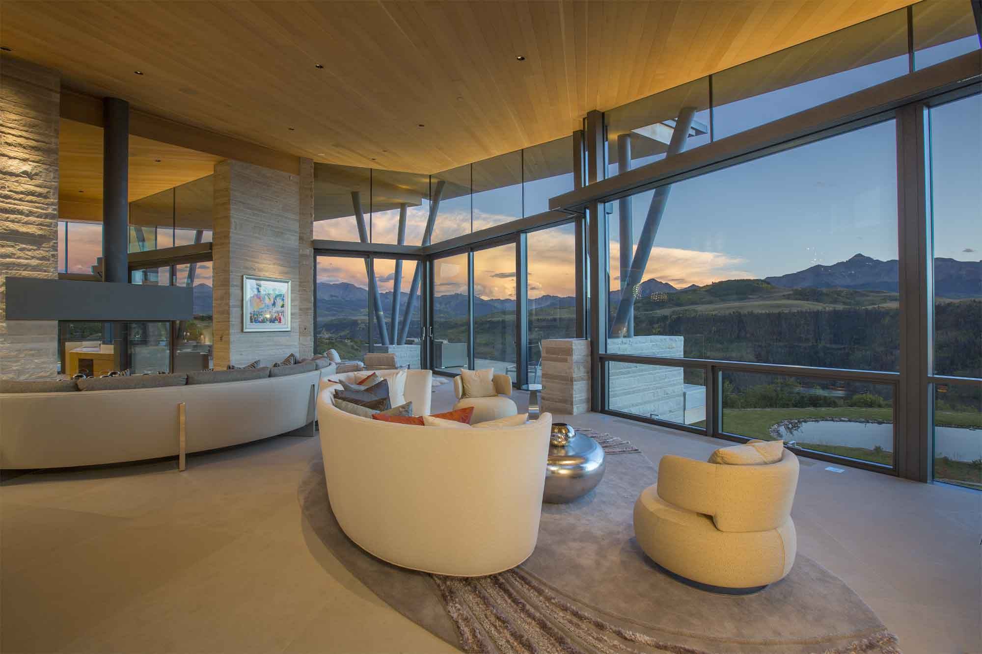 This exceptional estate with its bold use of glass and magnificent setting, minutes from the historic Old West town of Telluride, is the epitome of luxurious mountain living.