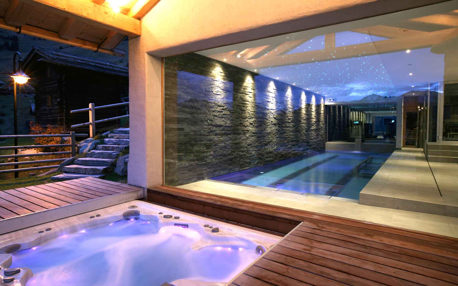 The wellness facilities at this ultra-luxurious chalet in the Alpine resort of Verbier provide respite after a day on the slopes.