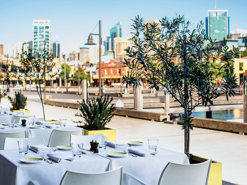 The modern Italian cuisine at OTTO is complemented by the restaurant's waterside terrace. Photograph: Nikki To