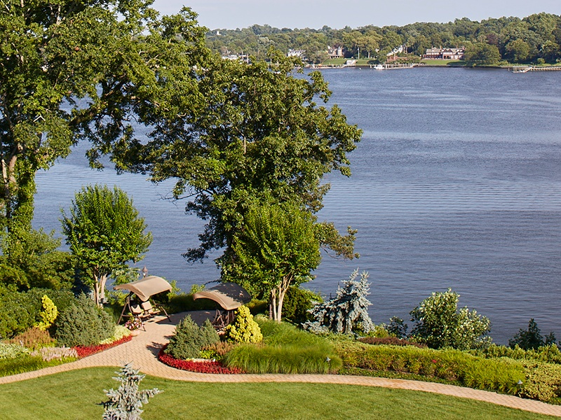 Bookend perches offer the perfect location to view the picturesque Navesink River and Atlantic Ocean beyond.