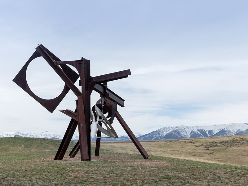 Mark di Suvero's <i>Beethoven's Quartet</i> (2003) is crafted from steel and stainless steel. Image courtesy of Tippet Rise/Iwan Baan. Photograph: Iwan Baan
