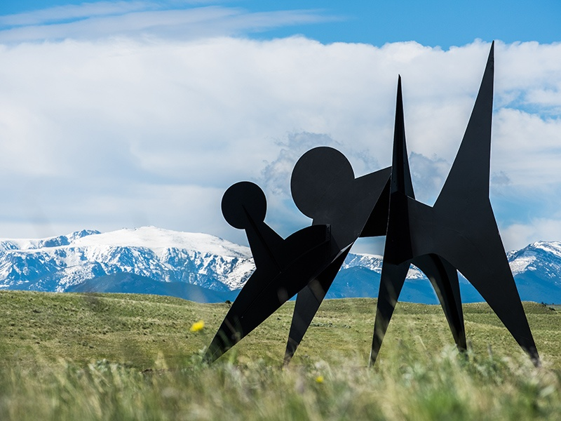 On loan from the Hirshhorn Museum and Sculpture Garden, Alexander Calder's <i>Two Discs</i> (1965) is installed at Tippet Rise Art Center. Image courtesy of Tippet Rise. Photograph: Andre Costantini. Banner image: The Olivier Barn at Tippet Rise, with<i> Two Discs</i> in the background. Image courtesy of Tippet Rise/Iwan Baan. Photograph: Iwan Baan