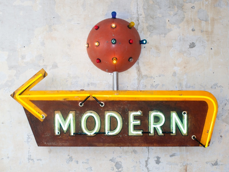 Todd Sanders finds inspiration in roadside America, and his love of typography is reflected in his neon artworks, such as <i>Modern</i> (pictured). Photograph: Matt Rainwaters