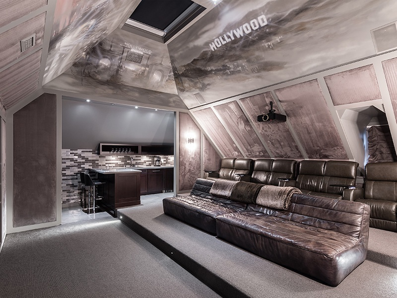 A third-floor home theater is just one feature of this one-of-a-kind home, which was extensively renovated in 2013.