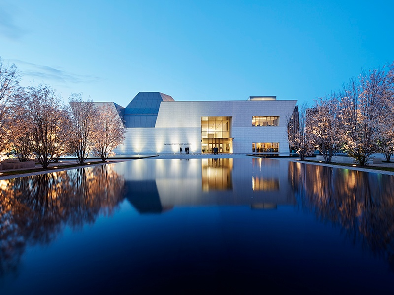 Designed by Pritzker Prize-winner Fumihiko Maki, Toronto's Aga Khan Museum boasts an open-roofed courtyard, shimmering granite walls, and connection to the Ismaili Centre, created by architect Charles Correa.