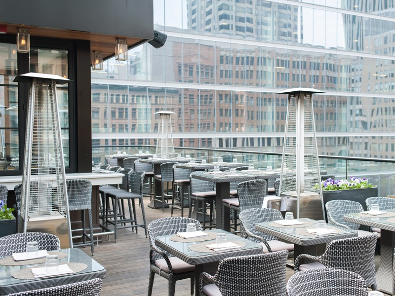 "Elegant rooftop dining is offered at The Chase, which specializes in ""small plates with big flavours."""