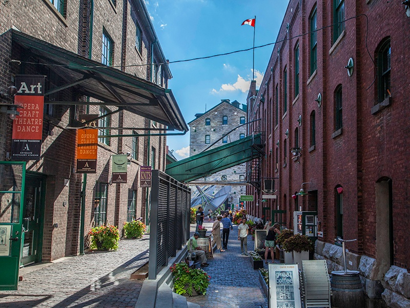 """""""There are artisan chocolate makers and theater troupes, as well as chic boutiques,"""" says Jessica Nakanishi of the historic Distillery District."""