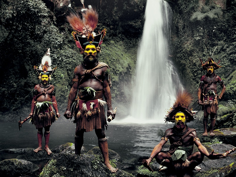 """Huli Wig Men at the Ambua Falls, in the Tari Valley, Papua New Guinea, photographed with a plate camera. Of digital cameras, Jimmy Nelson says, """"invariably, you never really make that true contact"""" with the subject. Photograph: © Jimmy Nelson Pictures BV"""