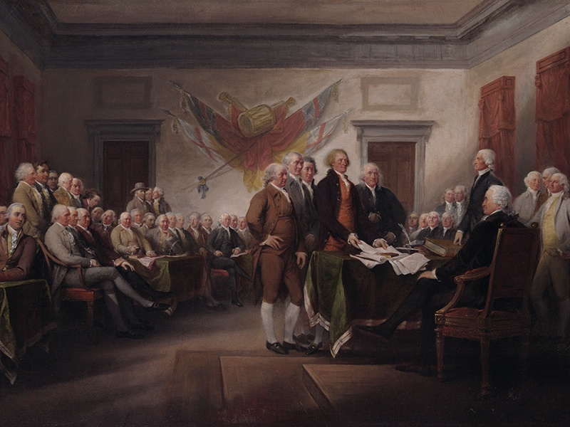 John Trumbull painted four large pictures in the rotunda of the Capitol in Washington, D.C., including the <i>Declaration of Independence</i>. Photograph: Yale University Art Gallery