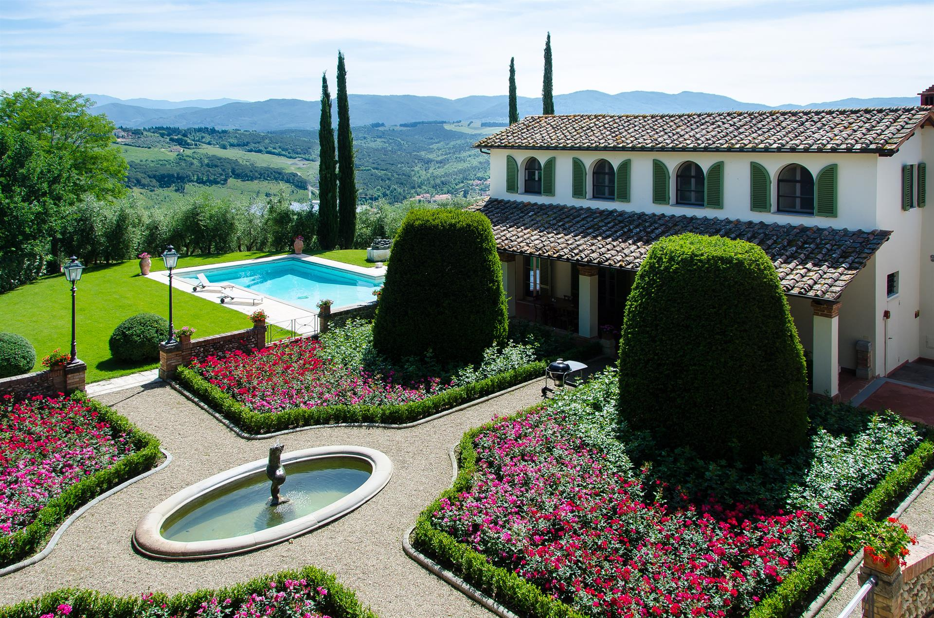 Dating from the 13th century, this magnificent estate in the Chianti Classico hills of Tuscany encompasses more than 10 acres complete with vineyards, olive groves, cypress trees, and forests.