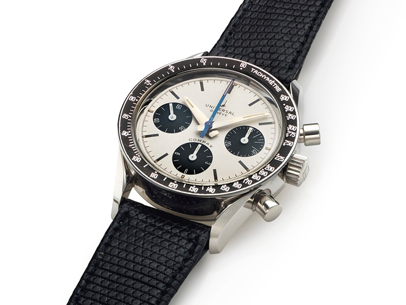 """The Universal Genève """"Nina Rindt"""" Compax chronograph from 1966 that sold for $47,500 in December 2015 at Christie's New York. Photograph: Christie's Images Ltd. 2016"""