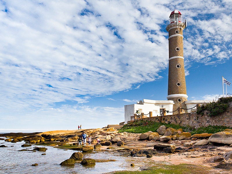 José Ignacio lighthouse sits on a peninsula, surrounded by sandy paths dotted with a variety of exclusive beach homes. Photograph: Getty Images