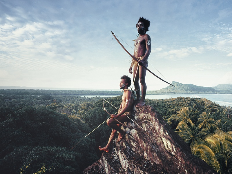 Vanuatu warriors on the Rock of Rah, on the lava island of Rah in the remote South Pacific Vanuatu Islands, photographed by Jimmy Nelson for his <i>Before They Pass Away</i> series. Photograph: © Jimmy Nelson Pictures BV