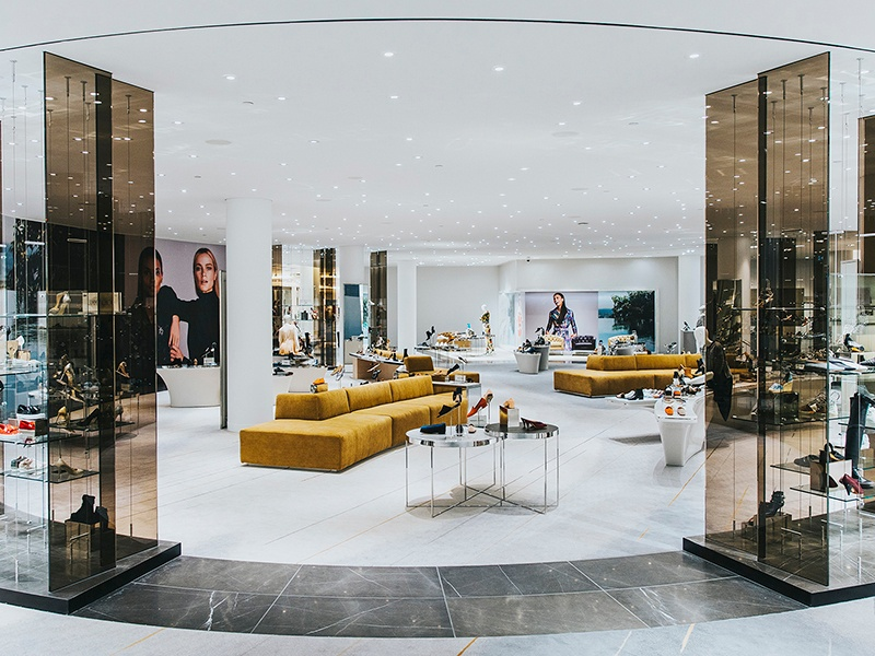 As part of renovations to the iconic Holt Renfrew shopping center, the new 8,500-square-foot ladies shoe salon stocks some of the finest brands including Aquazzura, Céline, Christian Louboutin, Gucci, Manolo Blahnik, Miu Miu, and Prada.