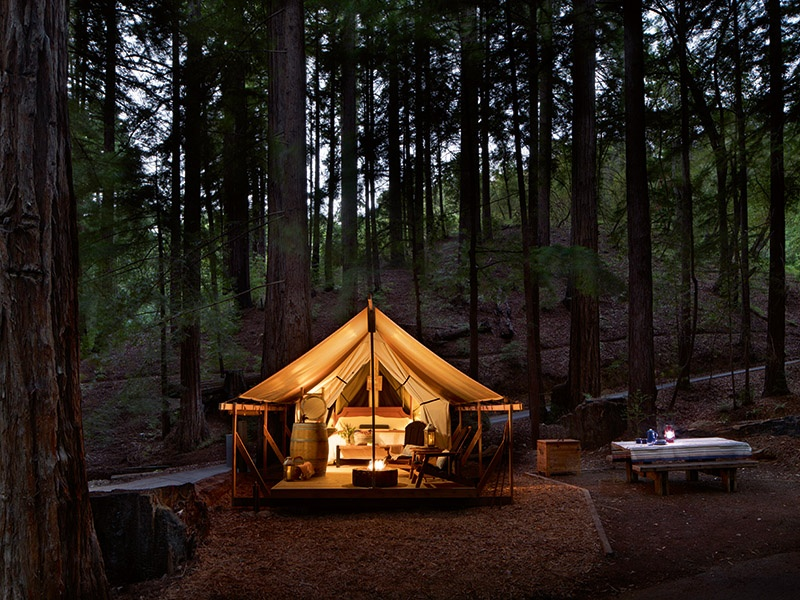 Glamping at Ventana Big Sur is a luxurious way to connect with California's great outdoors. Guests benefit from indulgent amenities that include an elegant bath house and custom-curated picnic baskets.
