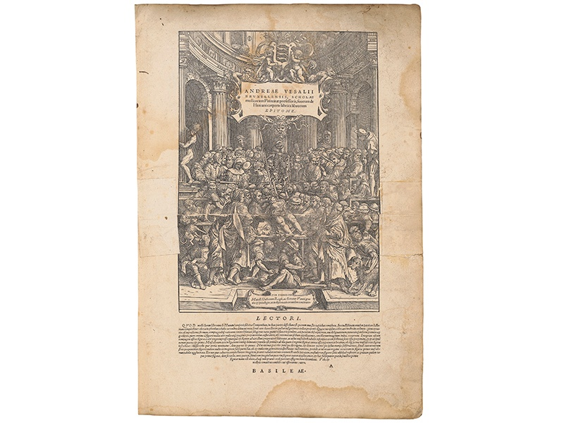 Andreas Vesalius's <i>De Humani Corporis Fabrica Librorum Epitome</i> was hugely influential in the medical field. This edition was owned by Sir Hans Sloane, a physician and well-known collector. Banner: A colored illustration from Athanasius Kircher's <i>Mundus Subterraneus</i>. Photographs: Christie's Images Ltd. 2016