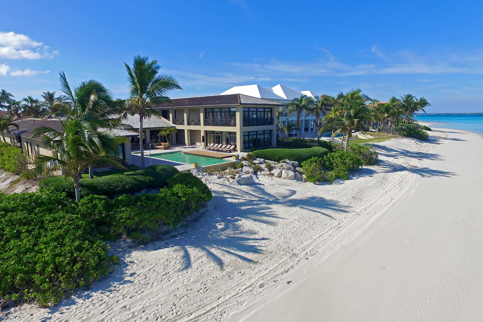 The incomparable white sand of the Bahamas form a stunning private beach on Paradise Island.