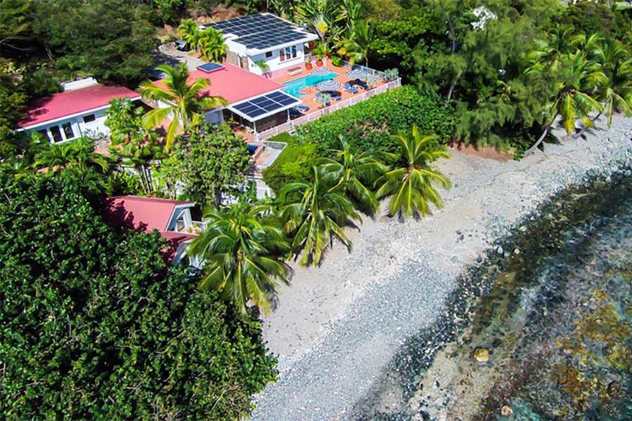 Vida de Mar is a five-bedroom waterfront villa tucked into a quiet corner of Saint John just a few minutes from the dining and nightlife of Cruz Bay.