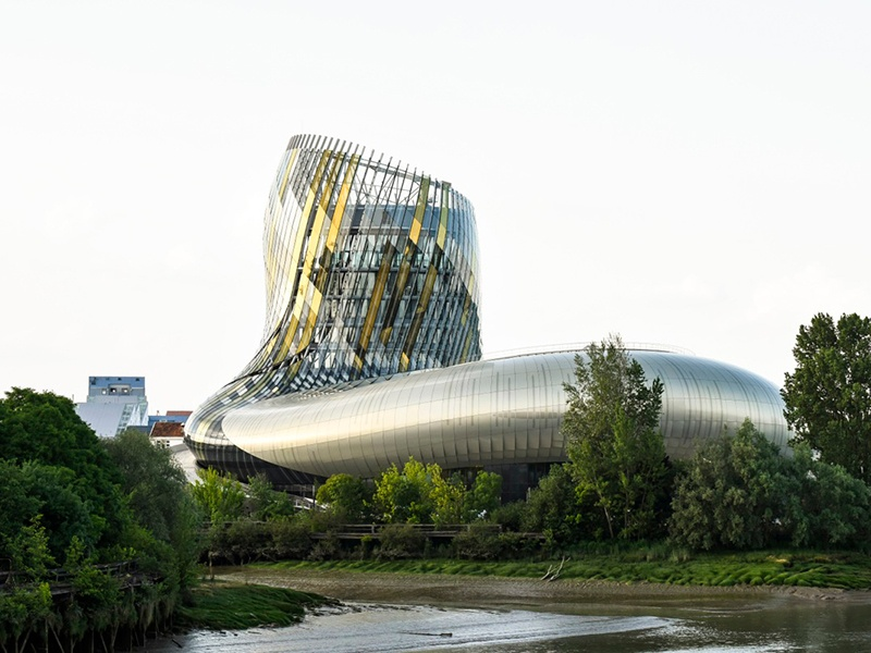 Other highlights of La Cité du Vin in Bordeaux, France, include the eighth-floor Belvedere restaurant and bar with its breathtaking 360-degree view of the city, and Latitude20, where floor-to-ceiling shelves carry 800 wines from more than 70 countries.