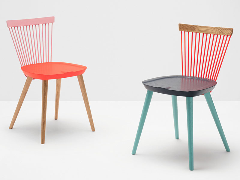 The WW chair is available in six colorways, based on the flags of the UK, Denmark, and Mexico, to represent the roots of H Furniture founder Alejandro Villarreal and the designer, Hamish Makgill.
